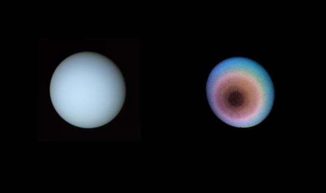 True-color (left) and false-color (right) images of Uranus taken by Voyager 2 on January 17, 1986 (Credit: Samantha Jaquez)