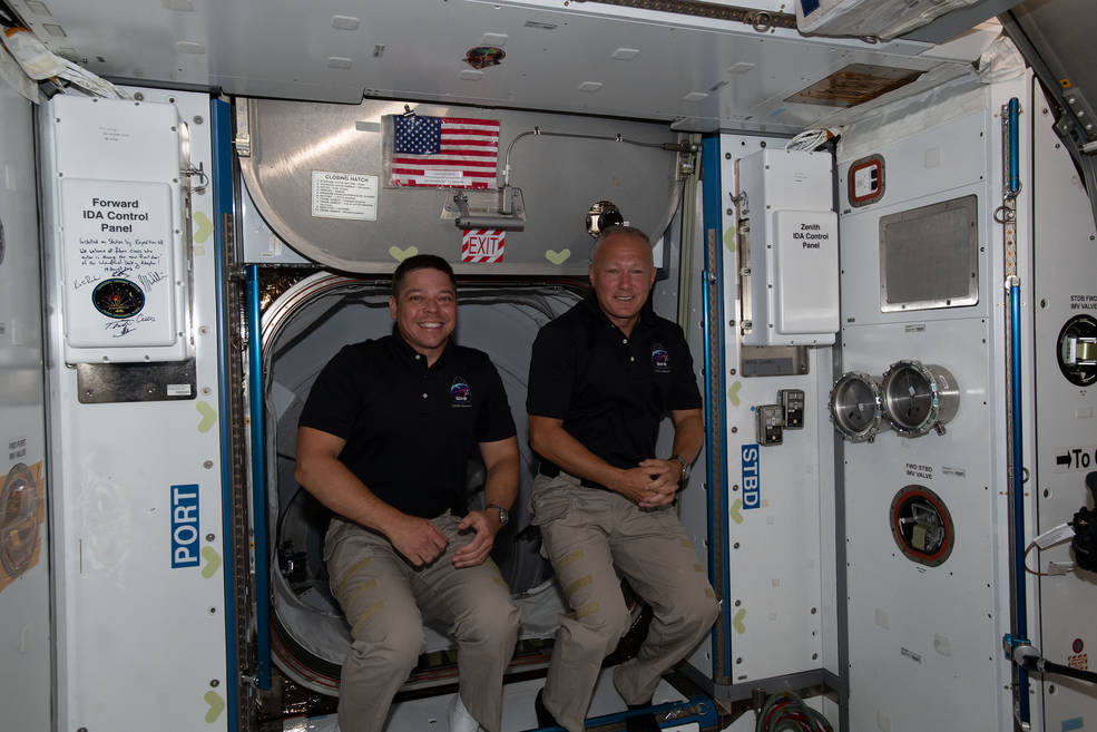 Astronauts Bob Behnken and Doug Hurley shortly after entered the ISS