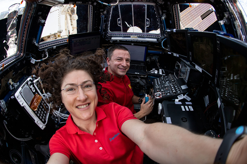 Astronaut Koch takes a selfie in space with fellow astronaut Andrew Morgan
