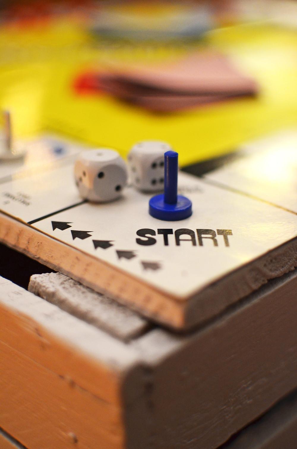 Board game blue piece start spot