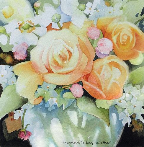 """Summer Roses 12""""x12"""" Framed"""