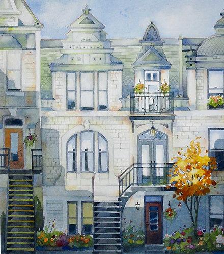 "Sherbrooke St, Montreal, 23""x23"" Framed"