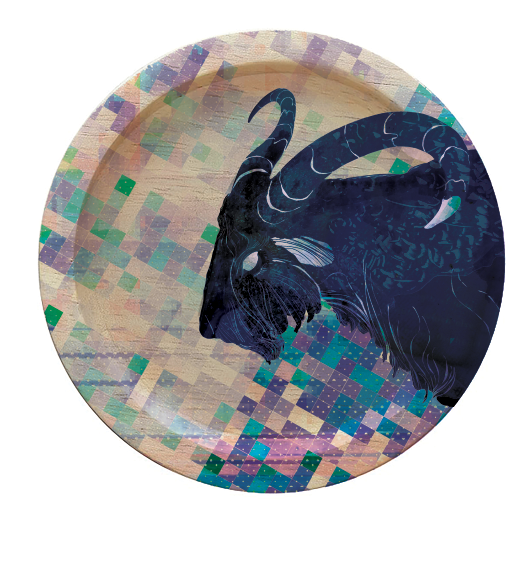 Cabras! Round Coaster Design © Adolfo Valle Studios--All Rights Reserved