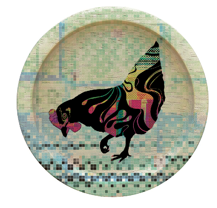Gallinas Round Coaster Art--©2020 Adolfo