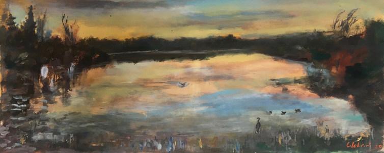 """Lagoon in Birdland Sunrise  Oil on Linen  24 """" x 48 """""""