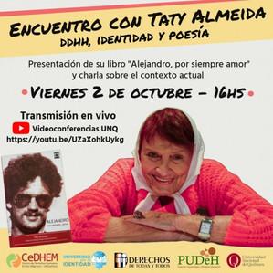 UNQ:Taty Almeida presentará el libro de su hijo Alejandro y conversará sobre el presente de los DDHH