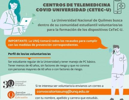La UNQ convoca a voluntarios para atención de los Centros de Telemedicina COVID Universidad