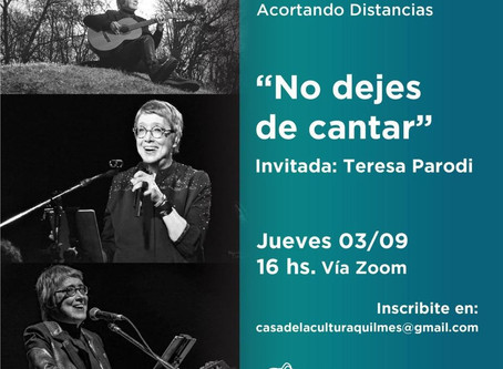 """""""Acortando distancias"""": Teresa Parodi inicia el ciclo de charlas culturales en septiembre"""