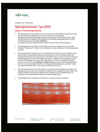Factsheet Spenglerlaufnetz