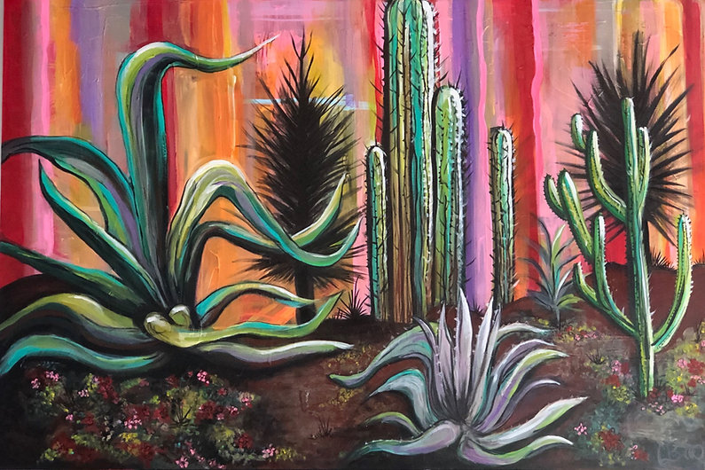 Cactus, Mexico City, Mixed Media Rainbow