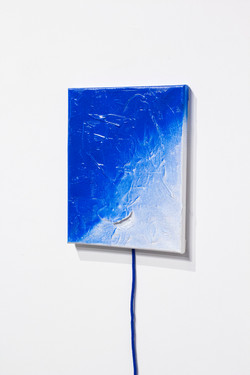 toothpaste and spray on canvas, rope, 2019