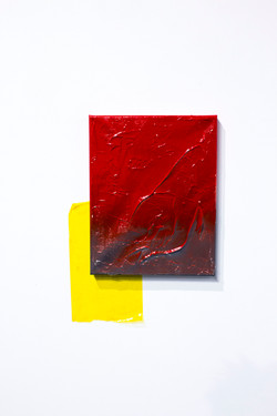 toothpaste and spray on canvas, cellophane, 2019