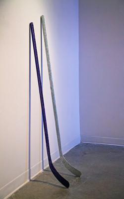 hockey sticks affixed with glitter, 2018