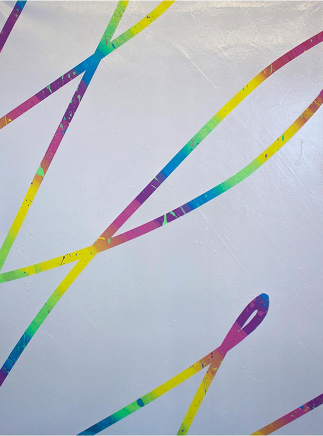 """Visibility"" acrylic spray paint and glitter on canvas, 2017"