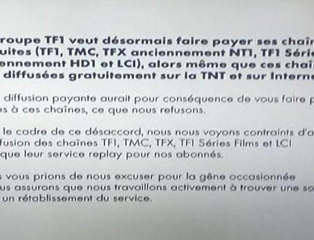 Arrêt de la diffusion des chaines du groupe TF1 sur CANAL