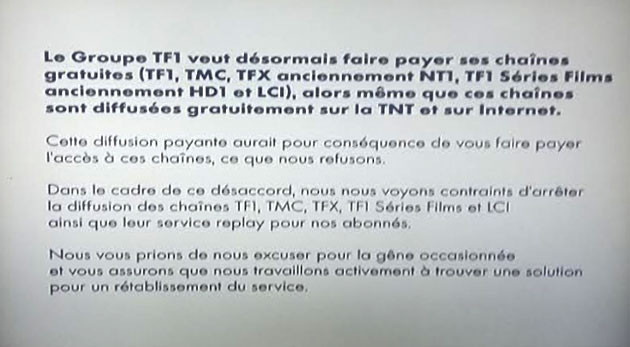 Arrêt de la diffusino des chaines TF1 via Canal et TNTSAT