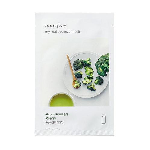 Innisfree. My Real Squeeze Mask Broccoli. Тканевая маска с экстрактом брокколи