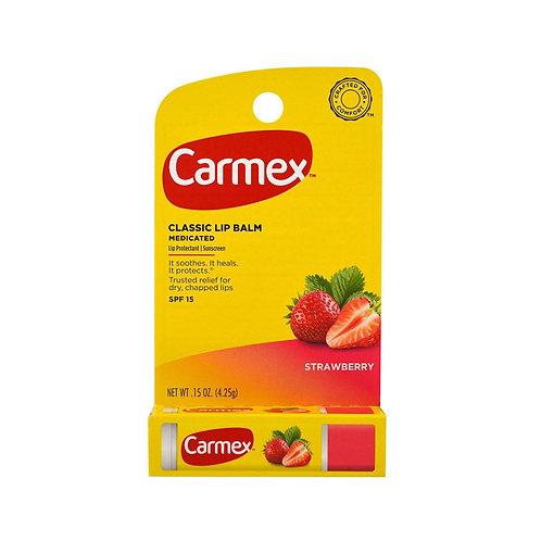 Carmex. Daily care lip balm, strawberry stick. Клубничный бальзам для губ