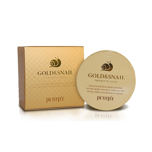 Petitfee. Gold & Snail Hydrogel Eye Patch. Гидрогелевые патчи с муцином улитки