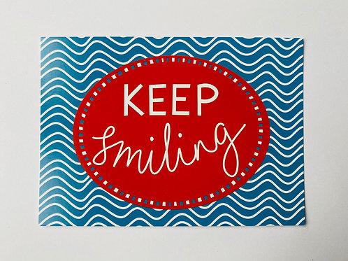 'Keep Smiling' A5 Postcard