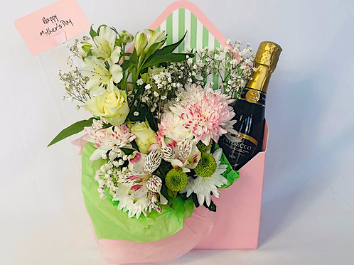 Pink Envelope Flower Box with Alcohol