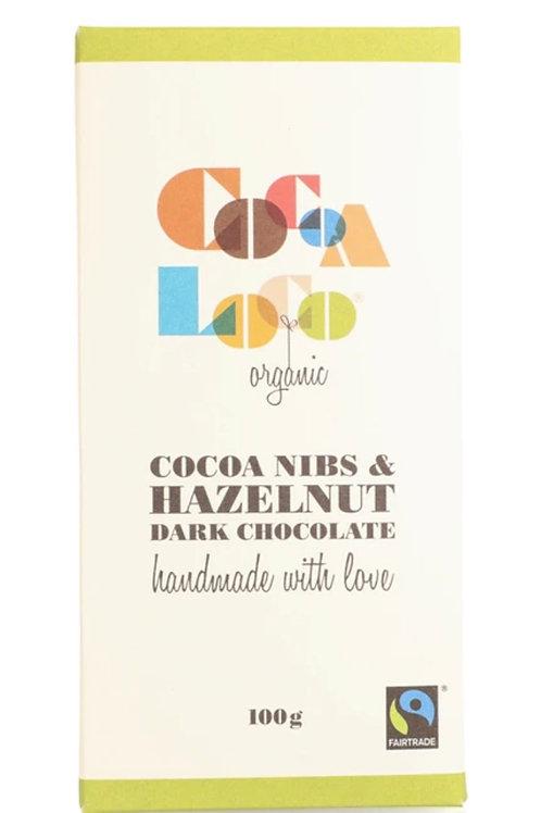 Dark Chocolate, Cocoa Nibs & Hazelnut Bar