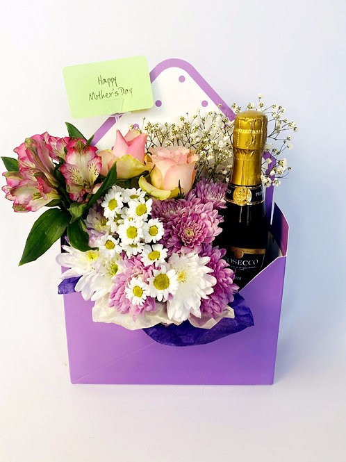 Purple Envelope Flower Box with Alcohol