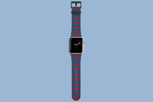 Red and Blue Plaid Apple Watch Strap