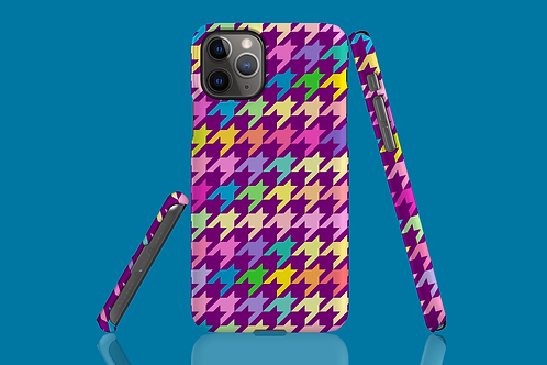 Pastel Rainbow and Purple Houndstooth iPhone Case