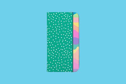 Pastel Rainbow Green White Dots iPhone Folio Wallet Case