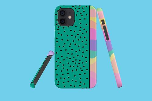 Pastel Rainbow Green Black Dots iPhone Case