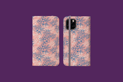 Blue and White Flower Outlines on Pink iPhone Folio Wallet Case