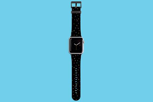 Rainbow Sprinkles on Black Apple Watch Strap