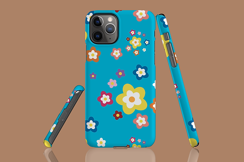 Colourful Flowers on Blue iPhone Case