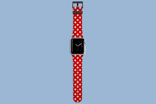 Red Polka Dots Picnic Blanket Apple Watch Strap