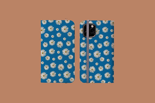 Daisies on Blue iPhone Folio Wallet Case