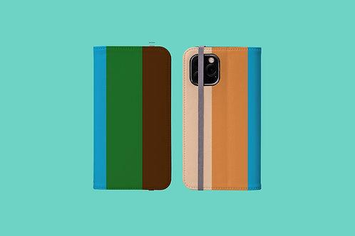 Five Colour Stripes iPhone Folio Wallet Case