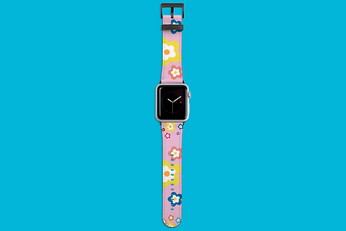 Colourful Flowers on Pink Apple Watch Strap