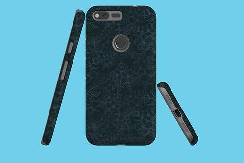 Black Flower Outlines on Dark Green Google Pixel Case