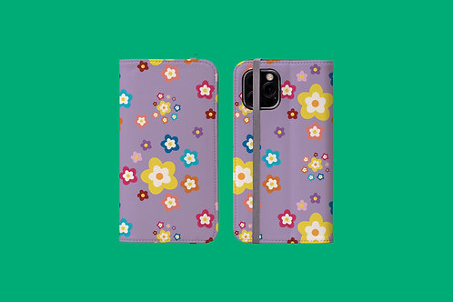 Colourful Flowers on Purple iPhone Folio Wallet Case