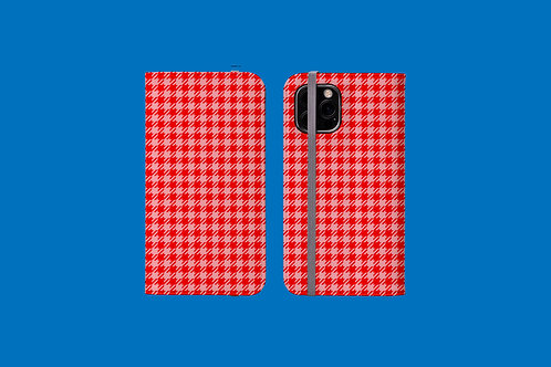 Red and Pink Houndstooth iPhone Folio Wallet Case