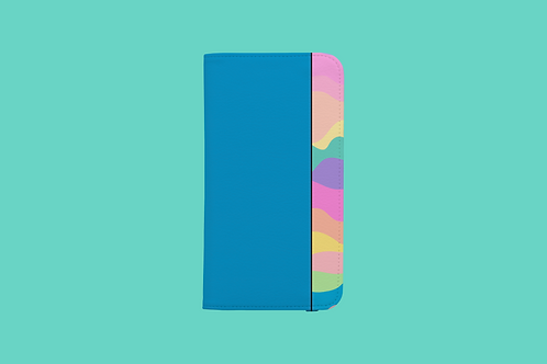 Pastel Rainbow Blue iPhone Folio Wallet Case