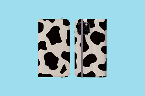 Large Cow Print iPhone Folio Wallet Case