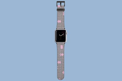 Pink and Grey Jigsaw Apple Watch Strap
