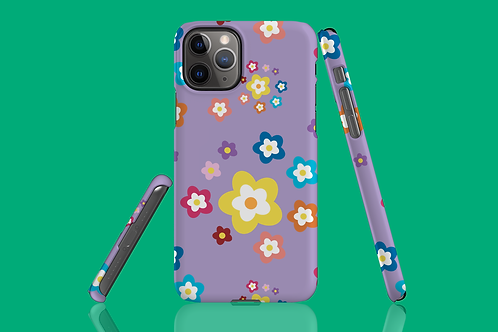 Colourful Flowers on Purple iPhone Case