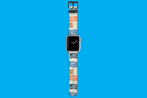 Blue and Orange Lines on White Apple Watch Strap