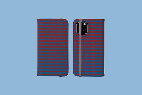 Red and Blue Plaid iPhone Folio Wallet Case