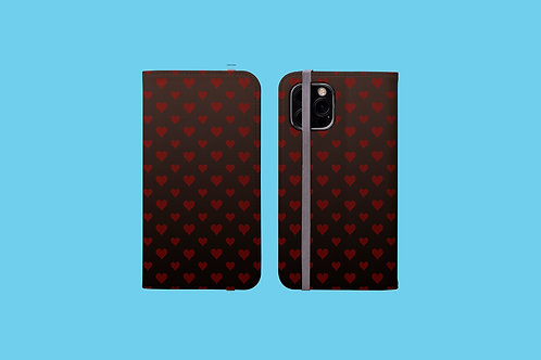 Hearts on Dark Gradient iPhone Folio Wallet Case