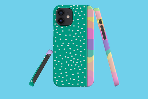 Pastel Rainbow Green White Dots iPhone Case