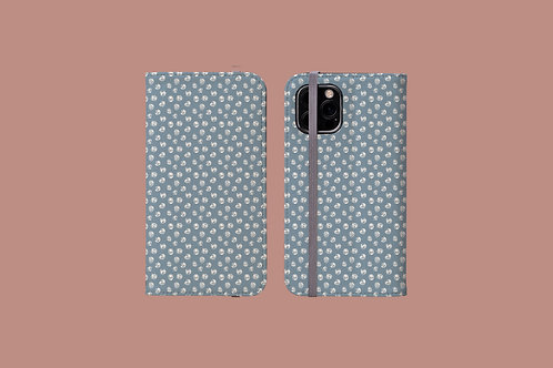 Abstract White Roses on Light Blue iPhone Folio Wallet Case